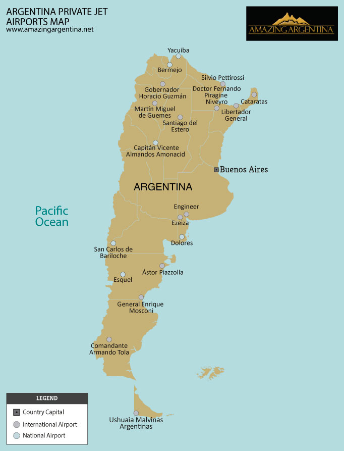 Argentina private jet heliports map